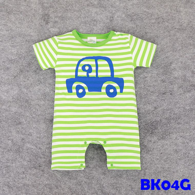 (BK04G) Romper - Car Green