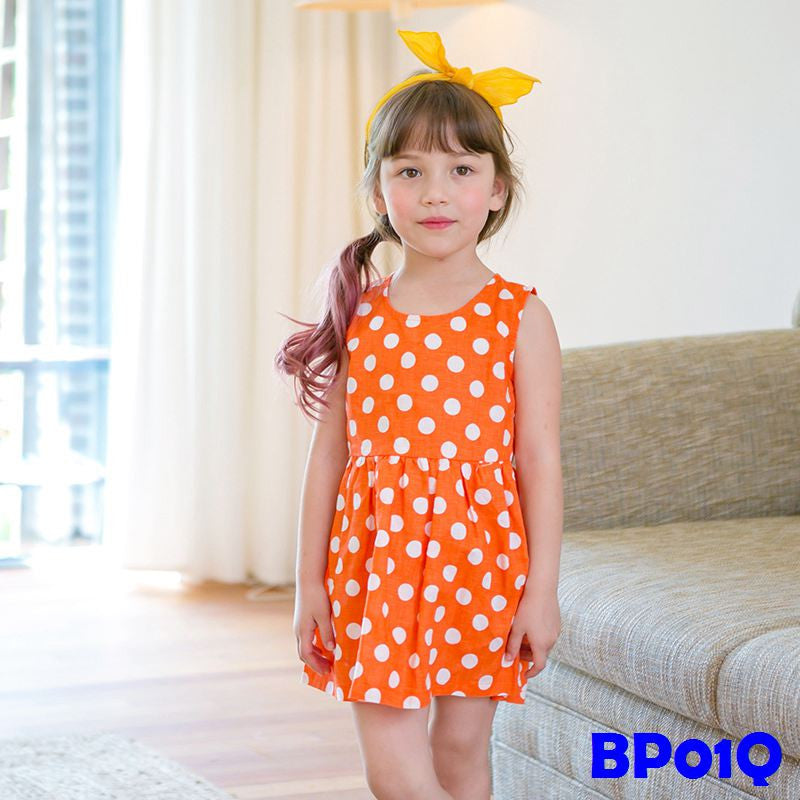 (BP01Q) Dress - Polka Dots Orange