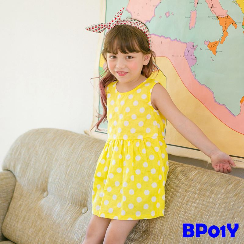 (BP01Y) Dress - Polka Dots Yellow