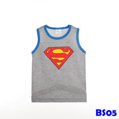 (BS05) T-shirt - Superman Sleeveless (Grey)