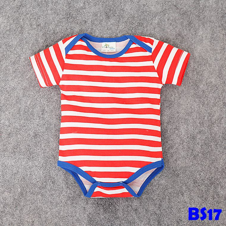 (BS17) Romper - Red Stripes