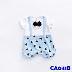 (CA041B) Romper - Blue with Bowtie