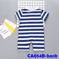 (CA054B) Romper- Stay Cool Blue Stripe