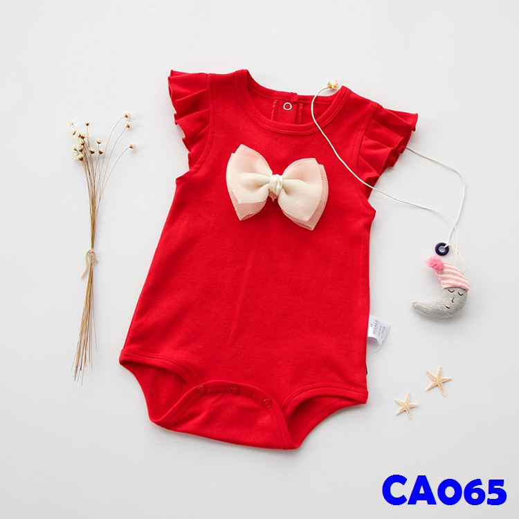 (CA065) Romper - Red with Ribbons