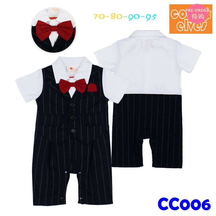 (CC006) Gentleman Romper - Black