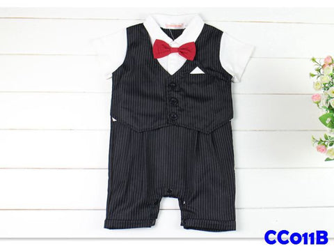 (CC011B) Gentleman Romper - Black (with bowtie)