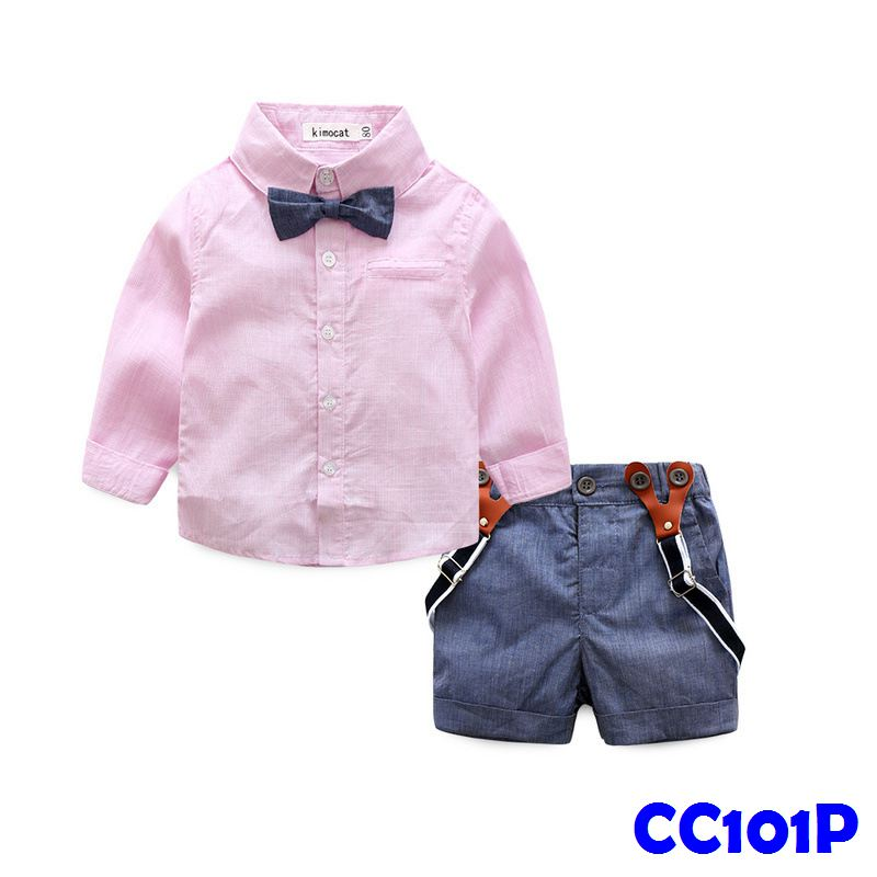 (CC101P) Gentleman Set - Long Sleeve Pink