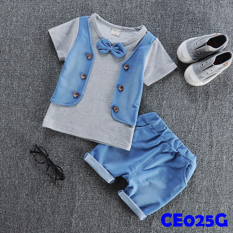 (CE025G) Set- Vest Grey
