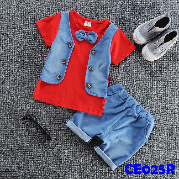 (CE025R) Set- Vest Red