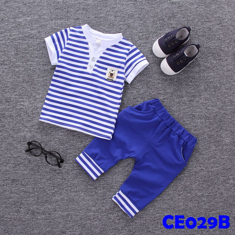 (CE029B) Set - Boy Stripes Blue