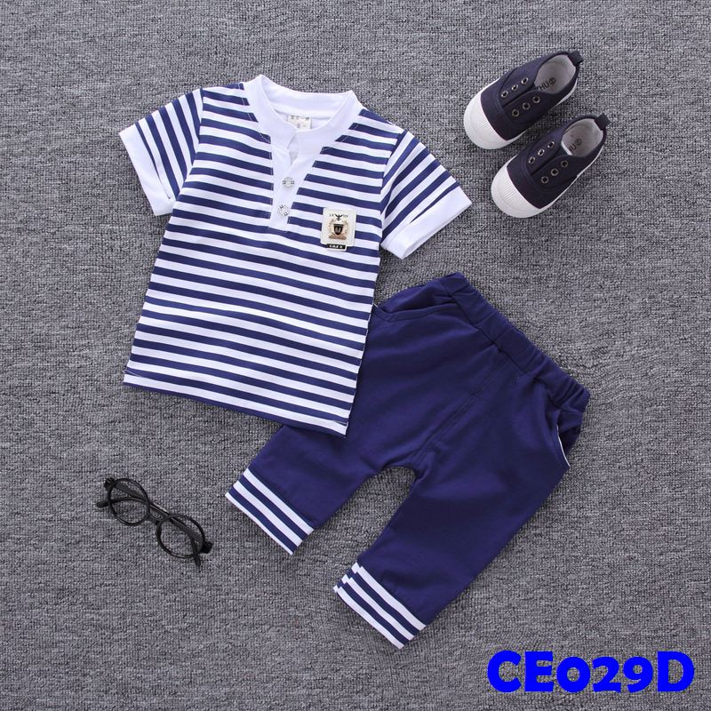 (CE029D) Set - Boy Stripes Dark Blue