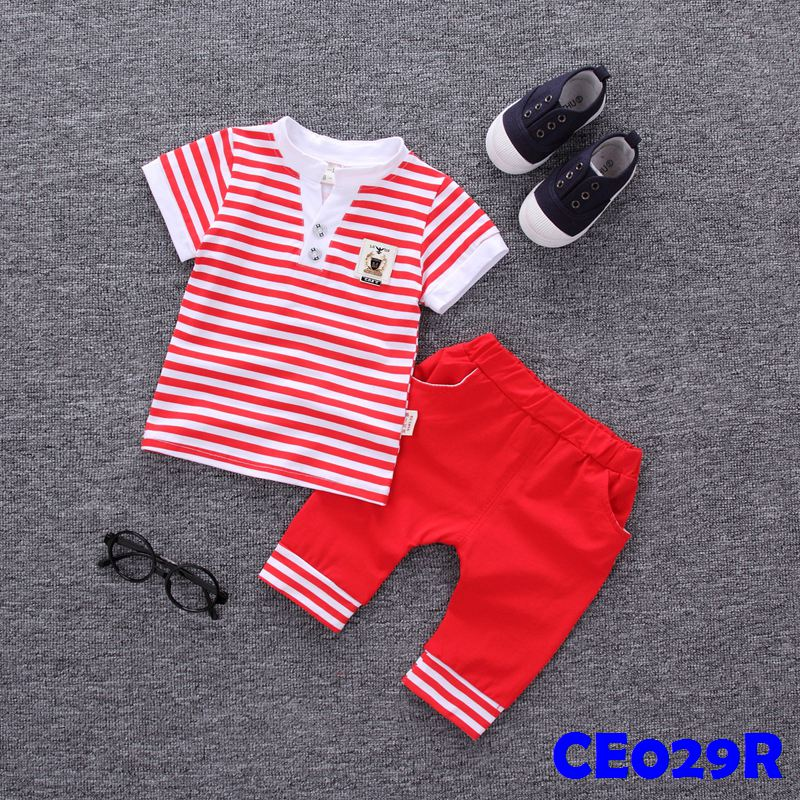 (CE029R) Set - Boy Stripes Red