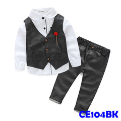 (CE104BK) Boy Set - Black Vest