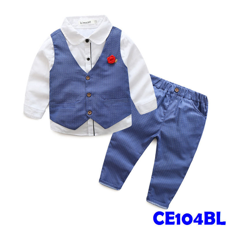 (CE104BL) Boy Set - Blue Vest