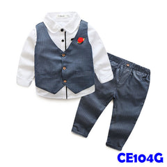 (CE104G) Boy Set - Grey Vest