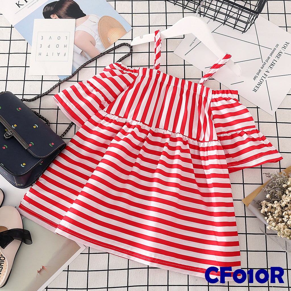(CF010R) T-shirt - Stripes Red