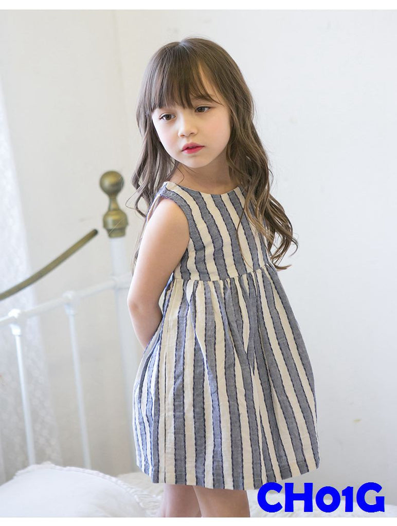 (CH01G) Girl Dress - Stripe Grey