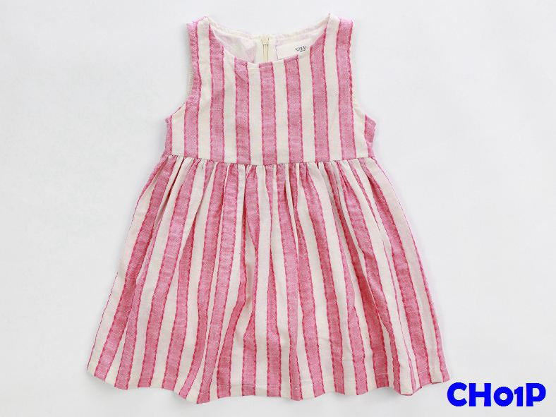 (CH01P) Girl Dress - Stripe Pink