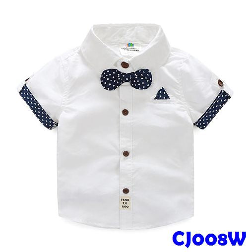 (CJ008W) Shirt - White Bowtie