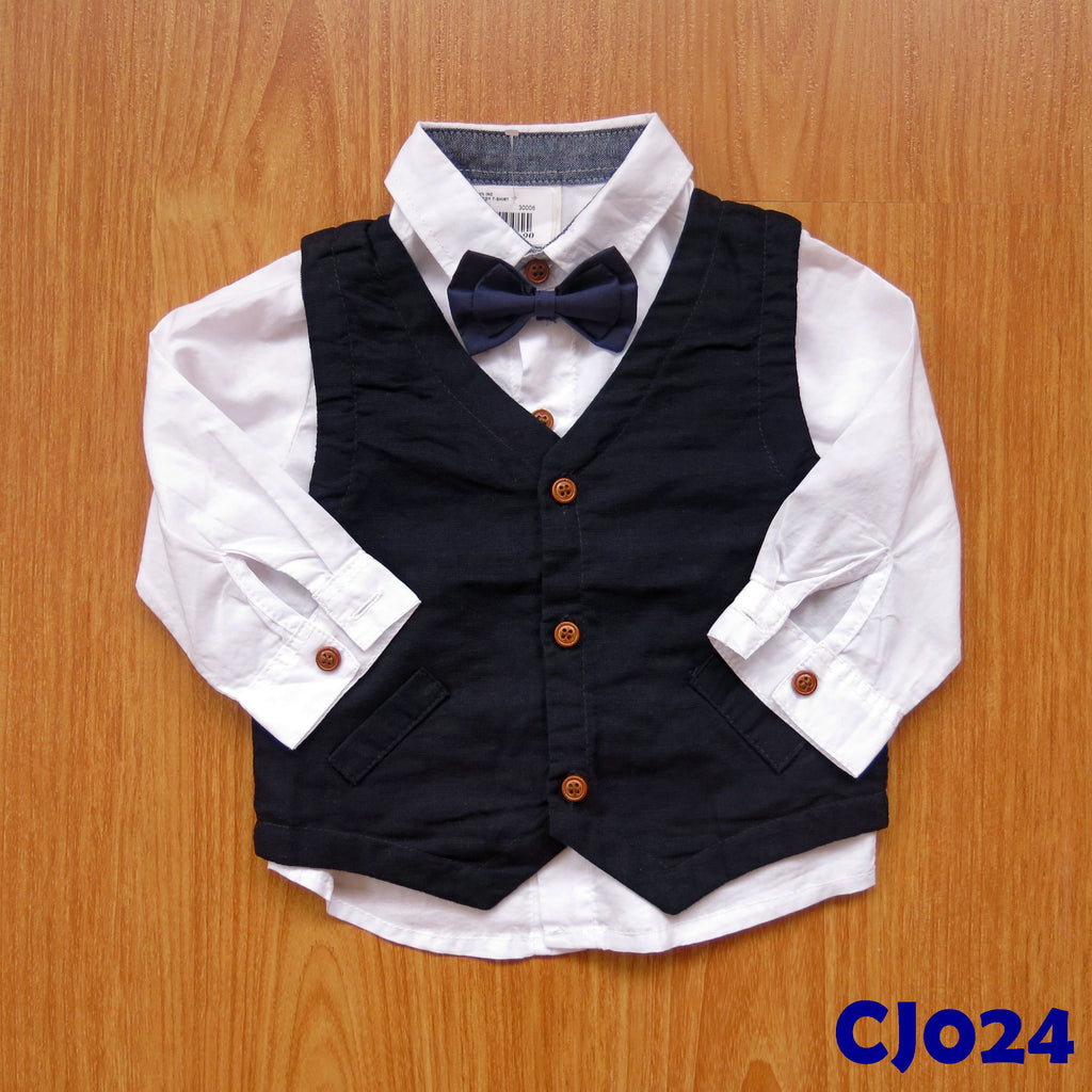 (CJ024) Boy Shirt with vest and bowtie