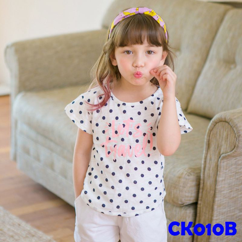 (CK010B) T-shirt - Polka Dots Black