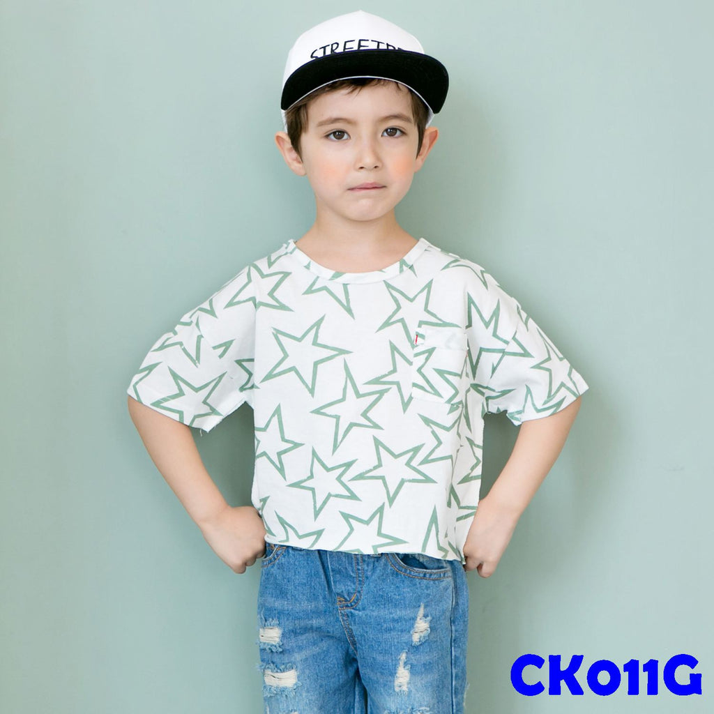(CK011G) T-shirt - Star Green