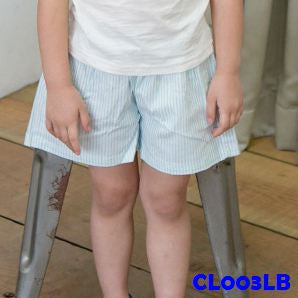 (CL003LB) Pants - Stripe Light Blue