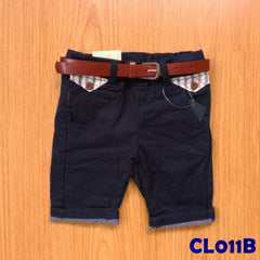(CL011B) Pants with Belt - Black