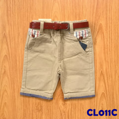 (CL011C) Pants with Belt - Brown