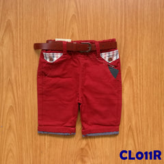 (CL011R) Pants with Belt - Red