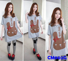 (CM002G) Maternity Dress - Rabbit - Grey