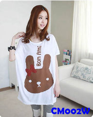 (CM002W) Maternity Dress - Rabbit - White