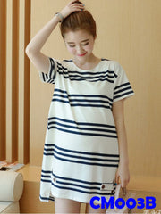 (CM003B) Maternity Dress - Stripes - Black