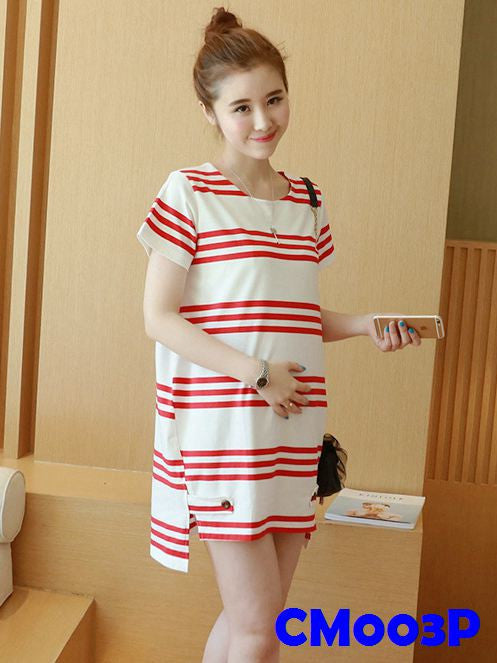 (CM003P) Maternity Dress - Stripes - Pink