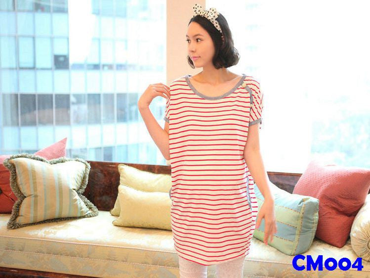 (CM004) Maternity Dress - Stripes - Pink