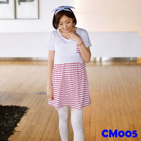 (CM005) Maternity Dress - Stripes - Pink
