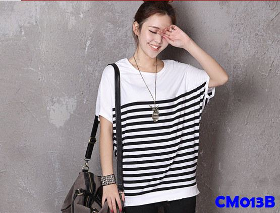 (CM013B) Maternity T-shirt - Black Stripes
