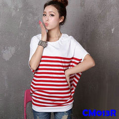 (CM013R) Maternity T-shirt - Red Stripes