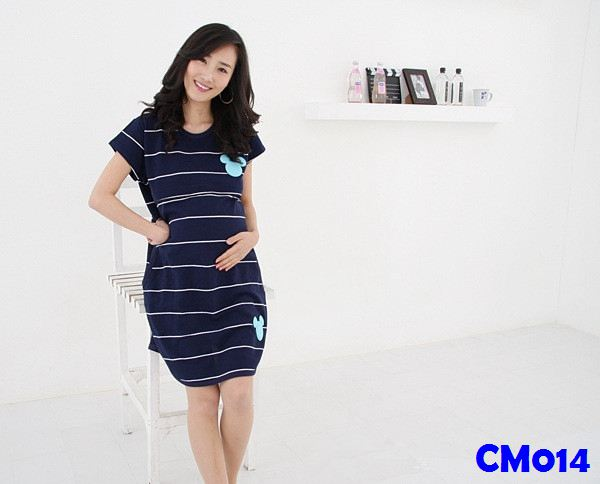 (CM014) Maternity Dress - Mickey Stripes