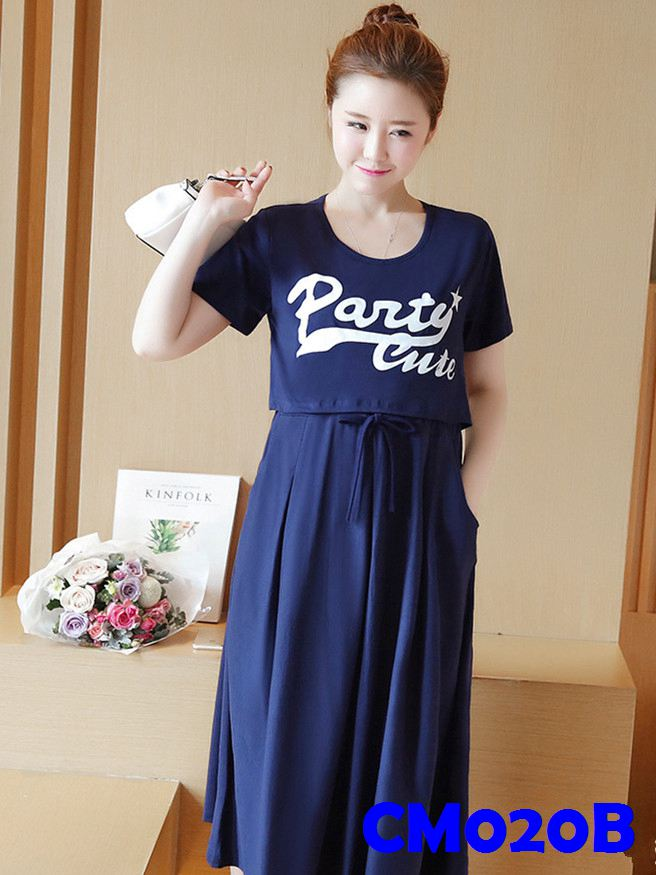 (CM020B) Maternity Dress - Dark Blue