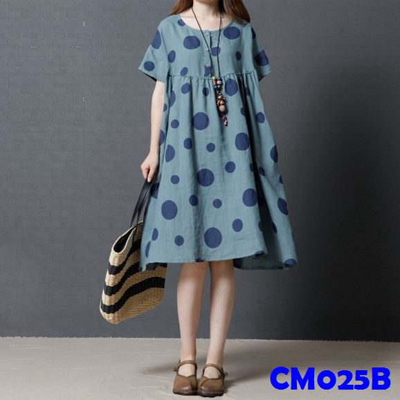 (CM025B)Maternity Dress-Blue