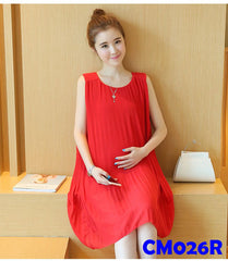 (CM026R)Maternity Dress-Red