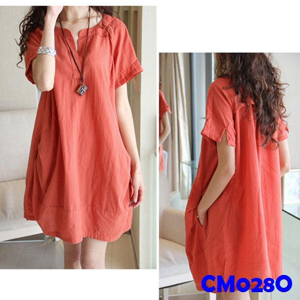(CM028O) Maternity Dress-Orange