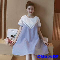 (CM029BE) Maternity Dress-Blue