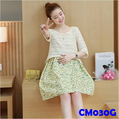 (CM030G) Maternity Dress - Floral Print Two Pieces Dress - Green