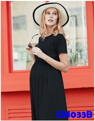 (CM033B) Maternity Dress - Modal Maxi Dress - Black