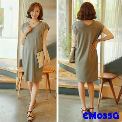 (CM035G) Maternity Dress - Modal Midi Dress - Grey