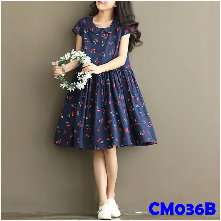 (CM036B) Maternity Dress - Cherry - Blue