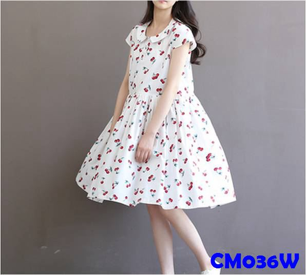 (CM036W) Maternity Dress - Cherry - White