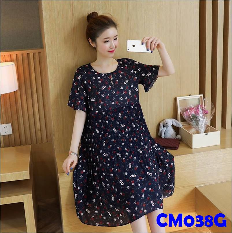 (CM038G) Maternity Dress - Chiffon - Blue